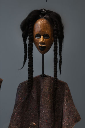 "Kibaba blackeye, 2012, Mixed media, 49"" H x 18"" W x 8"" D (124.46 cm H x 45.72 cm W x 20.32 cm D), Photo Credit: Robert Wedemeyer"