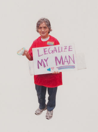 "Legalize my Man (May Day March, Los Angeles, 2012), 2012, Colored pencil on paper, 30"" H x 22"" W paper size; 32 3/4"" H x 25"" W framed, Detail Image, Photo Credit: Robert Wedemeyer"
