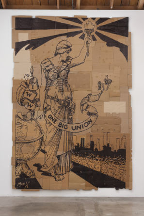 "One Big Union, 2012, Marker on found cardboard, 157"" H x 105"" W, Photo Credit: Robert Wedemeyer"