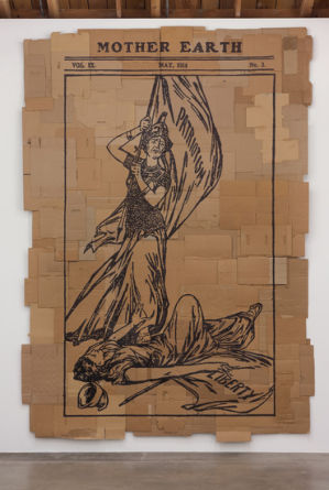 "A Menace to Liberty, 2012, Marker on found cardboard, 160"" H x 110"" W, Photo Credit: Robert Wedemeyer"