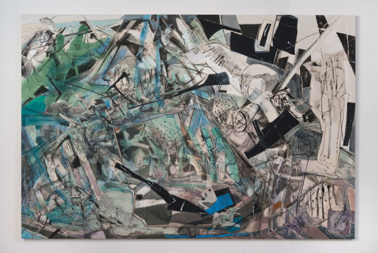 "Plane Metamorphosis, 2012, Acrylic, collage and oil stick on canvas, 74"" x 110"""