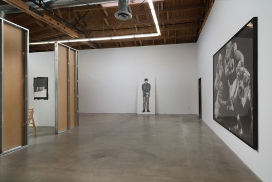 "Informal Family Blackmail, 2012, Installation view, Gallery 1; Center: ""Man,"" 2011, pencil on paper, 92"" x 45"" inches; Image Source: Robert Schultze; Courtesy of Susanne Vielmetter Los Angeles Projects; Photo Credit: Robert Wedemeyer"