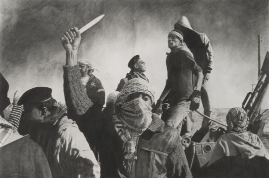 "Arab Spring, 2012, Pencil on paper, 59"" H x 89"" W (149.86 cm H x 226.06 cm W)"