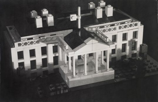 "Lego White House, 2012, Pencil on paper, 51.5"" H x 79"" W (130.81 cm H x 200.66 cm W)"