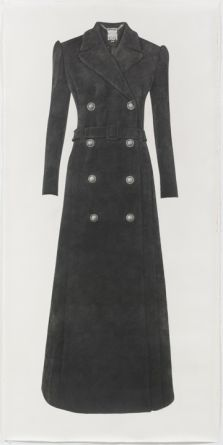 "Long Black Coat, 2012, Pencil on paper, 92"" H x 45"" W (233.68 cm H x 114.3 cm W)"