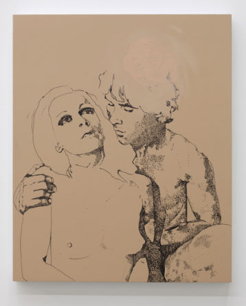 Lovers (For April), 2011, Ink and oil on panel, 22
