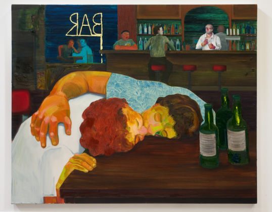 "Sloppy Bar Room Kiss, 2011, 39"" x 48"""