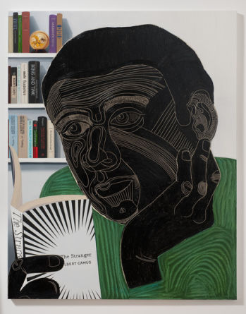 "Guy Reading The Stranger, 2011, 76"" x 60"""