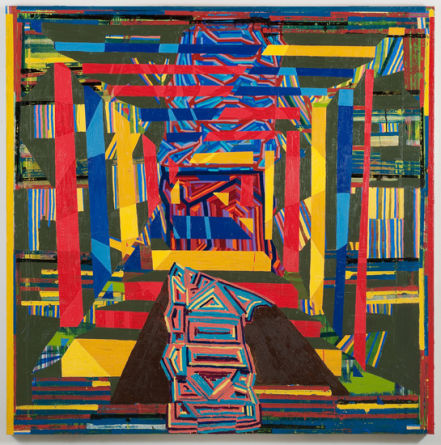 "aggregate (threshold), 2010, Acrylic and oil on linen, 72"" x 72"""