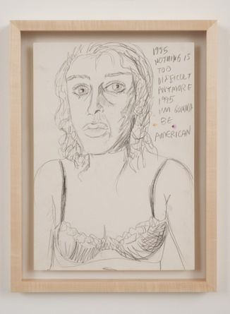 "1995 Nothing is, 1995, Black chalk on paper, framed, 16 1/2"" x 11 1/2"" paper size,19 1/2"" x 14 3/4"" framed size"