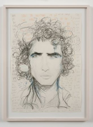 "Zac Posen, 2009, Colored pencil on paper, framed, 32"" x 24"""