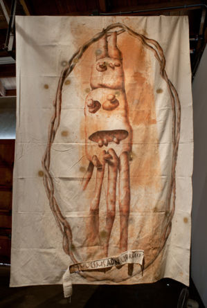 The Gods of Detroit (muuesms and lirbraeis), 2010, Clay, charcoal, enamel on unstretched canvas, 108 x 68