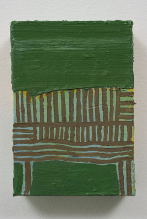 "au pont, 2010, Acrylic and oil on linen, 3 3/4"" x 5 1/2"""
