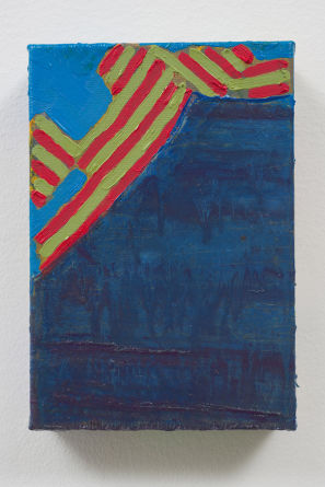"escalier, 2010, Acrylic and oil on linen, 3 3/4"" x 5 1/2"""