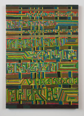"of metal dust machined and mentioned, 2009, Oil and acrylic on linen, 32"" x 46"""