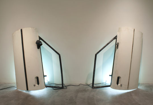 "Doors, 2009, 2 car doors with florescent light fixtures, 47"" x 39"" x 16"" each"