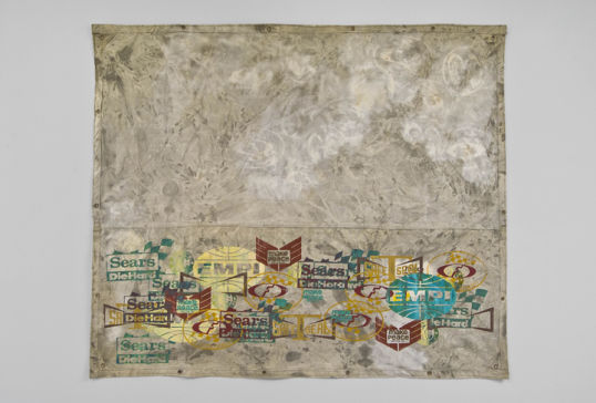 "Moon, 2008, Acrylic and silkscreen on canvas, 82"" x 97"""