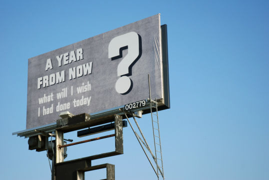 A Year from Now, 2008, Billboard, Los Angeles, Courtesy the artist and LA><ART, Los Angeles