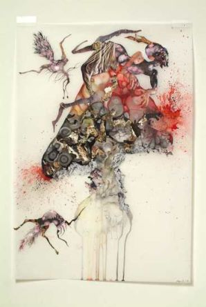 Howl, 2006, Ink, collage on mylar, 35