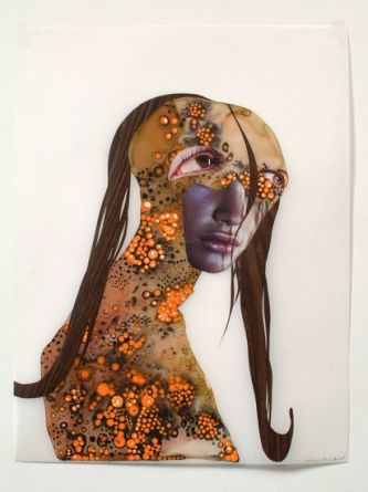 Untitled (classic profiles series), 2003, Collage and watercolor on mylar, 22