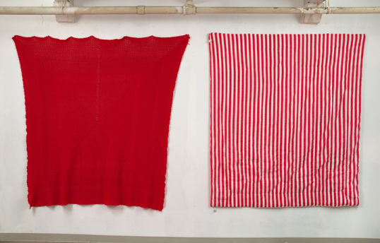 Untitled, 2007-2008, 2 blankets, push pins, Diptych, approx. 6ft x 6ft each piece
