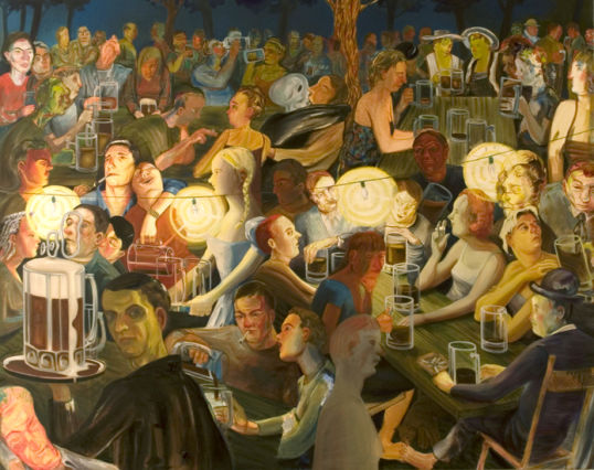 "Biergarten at Night, 2007, Oil on canvas, 65"" x 82"""