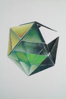 Platonic Solid, 2006, Charcoal on cut paper, 36