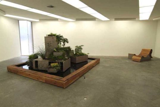 "Casual Friday, 2004, File cabinets, bookshelf, desk, soil, various plants, water, plant guide, 70"" x 140"" x 123"""