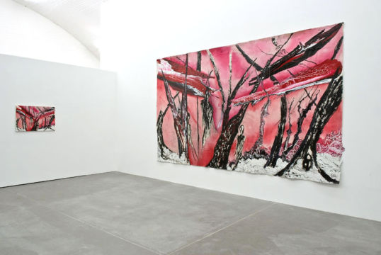 "Untitled, 2007, Latex and acrylic on canvas, Diptych, 9' x 15' and 24"" x 36"""