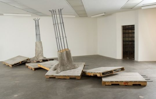 Infracted Expansion, 2007, Eight wood pallets, bonding cement, wire mesh, burlap, rebar, dimensions variable
