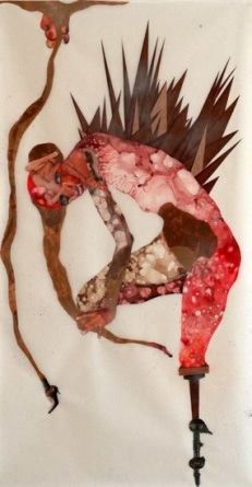 The Naughty Fruits of My Evil Labor, 2005, Ink, acrylic, collage, contact paper, packing tape on mylar, 80 1/2