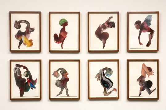 Chorus line, 2008, Watercolor and collage on paper, 31 x 52 (8 parts, framed sizes 14  x 11 each)