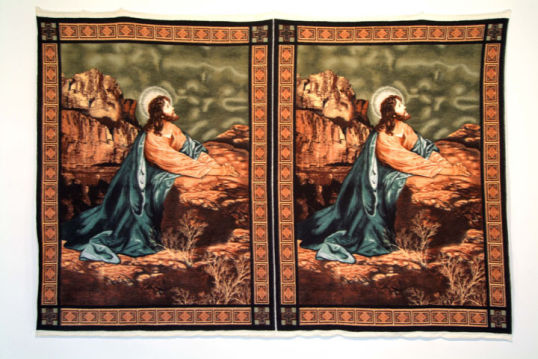 "Double Jesus, 2006, blanket, 66"" x 93"""