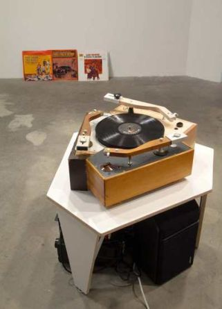 The Good, the Bad, and the Ugly, 2006, 2 Rek-O-Cut turntables, wood, aluminum, Hardware, Mixer, Amplifier, Speakers, 3 Ennio Morricone LPs