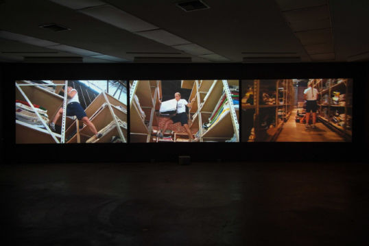 "The Weight of Relevance, 2007, 3 channel video, 26:15 minutes; looped Projection size 72"" x 124"" each"