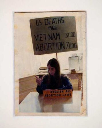 "Young Abortion Right Activist, San Francisco Bay Area, 1966 (photo lent from the Archives of Patricia Maginnis), 2005, color pencil on paper, 50"" x 38 1/4"", detail"