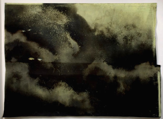 Eyes floating in the abyss, 2008, Graphite, dirt, gesso, charcoal and enamel on paper, 100