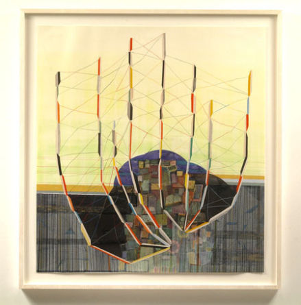 "continuous moment, 2006, collage, ink, watercolor, pencil on paper, 44"" x 47"" (framed)"