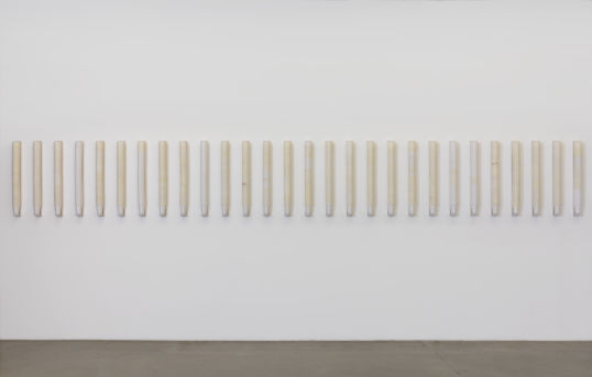 "Heaven (Vielmetter Version), 2013/2015, 28 stacks of plastic cups, wooden shelf, 36.50"" H x 3"" W x 3.75"" D"