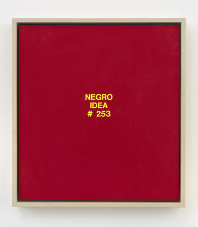 "Negro Idea #253, 2003, Vinyl on colored PVC, 12.75"" H x 11.75"" W"
