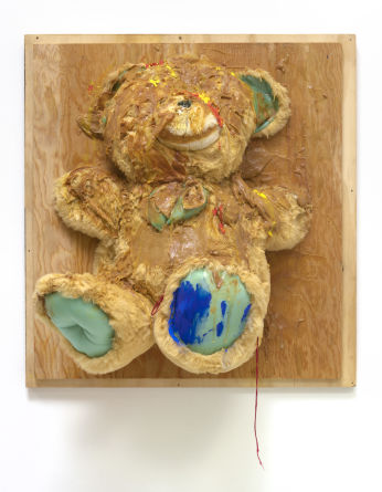 "Trophy (Big Bear), 2007, Wood, stuffed animal, oil paint, acrylic paint, acrylic medium, peanut butter, screws, 25"" H x 24"" W x 18"" D"