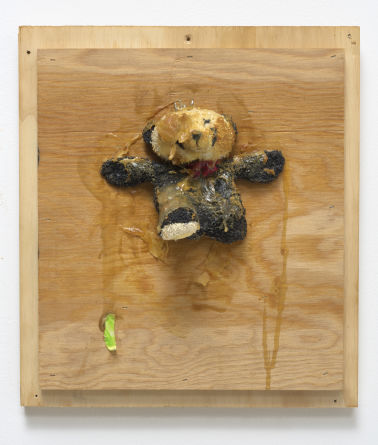 "Trophy (Small Panda), 2007, Wood, stuffed animal, oil paint, acrylic paint, acrylic medium, peanut butter, screws, 14"" H x 12.50"" W x 4.50"" D"