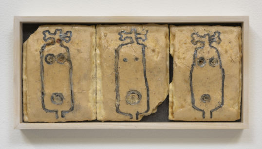 "Triptych, 1998 - 2000, Pencil and marker on Pop Tart, 4.50"" H x 10"" W"