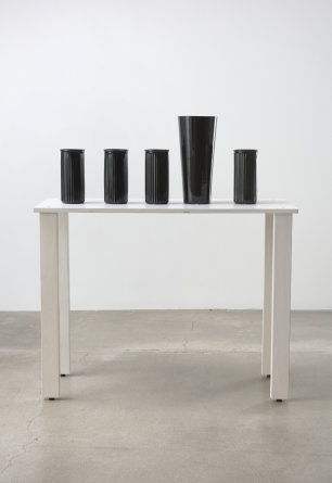 "shelf #1, 2016, Wood, glass vases, spray paint, 44.25"" H x 16.00"" W x 40.00"" D, Photo cred: Robert Wedemeyer"