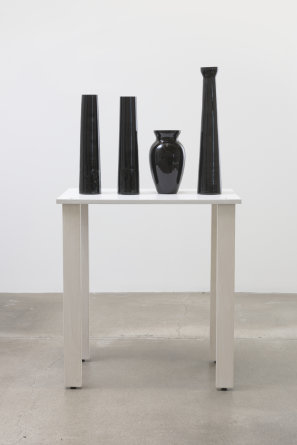 "shelf #11, 2016, Wood, glass vases, spray paint, 50.50"" H x 16.00"" W x 28.00"" D, Photo cred: Robert Wedemeyer"