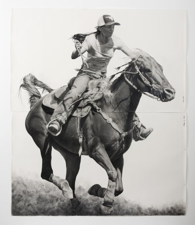 "Rodeo 10, 2016, Pencil and graphite powder on paper, 103"" H x 83"" W (261.62cm H x 210.82cm W), Photo credit: Jeff McLane"