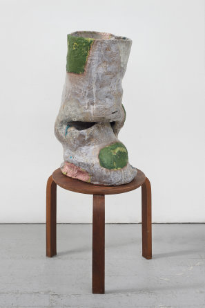 "Fair Play, 2016, 41.5 x 17 x 17"" [HxWxD], Glazed ceramic, wood"
