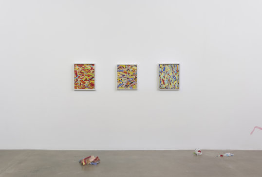 "Kim Dingle ""HOME DEPOT COLORING BOOK (anyone can do this),"" Installation view, 2017 Oil on OSB"