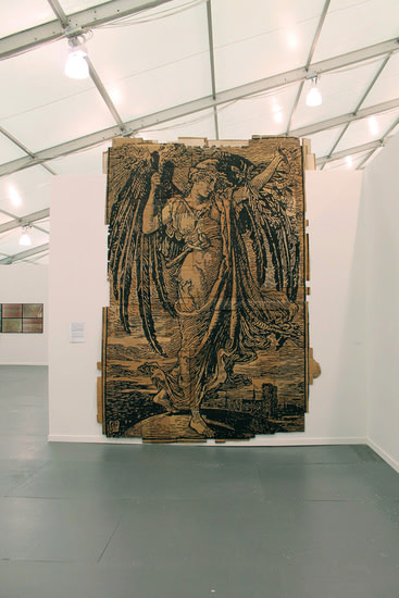 "Andrea Bowers, ""Memory of the Paris Commune Revised to Equal Work Deserves Equal Pay, (Illustration by Walter Crane),"" 2013, 164"" x 117,"" marker on found cardboard--At the Frieze Art Fair, Randalls Island, NY."