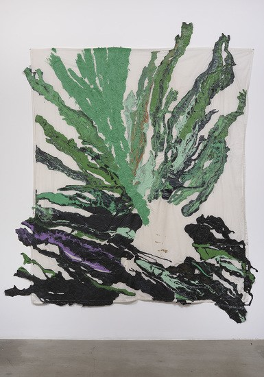 "A seed is a star, 2015, Latex on bed sheet, 119"" H x 101"" W, Photo cred: Robert Wedemeyer"
